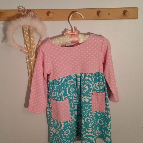 Flap Happy Other - Flap Happy Size 3T Blue Pink Polka Dot Dress